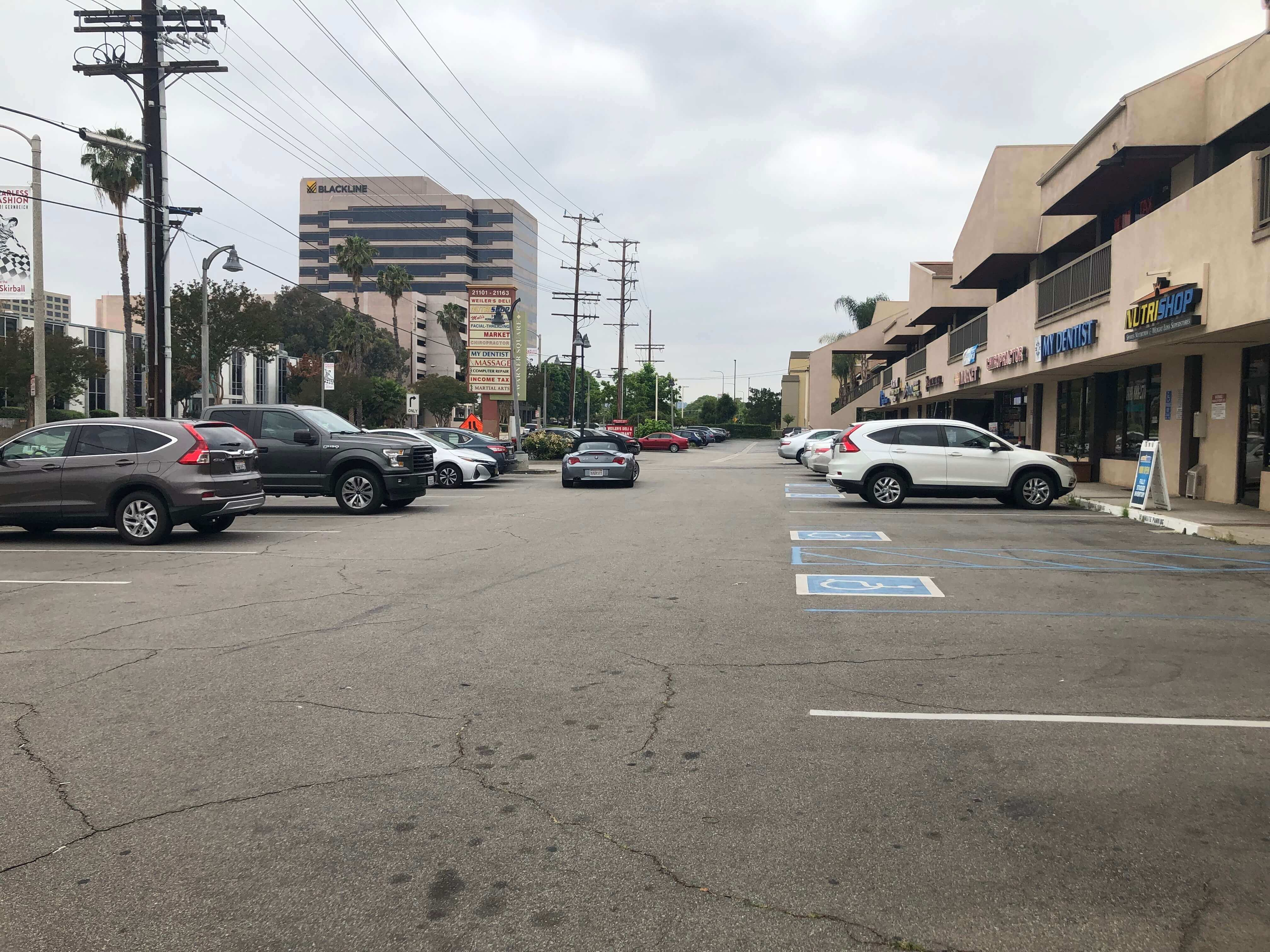 parking space filled with cars