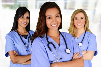 group of nurses in a hospital